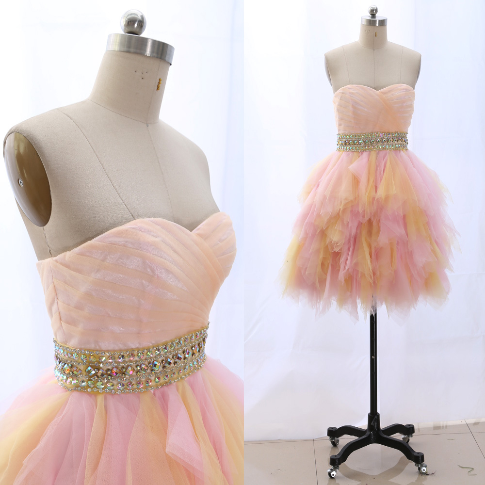 MACloth Blush Short Strapless Knee-Length Short Crystal Tulle   Prom     Dresses     Dress   S 265315 Clearance