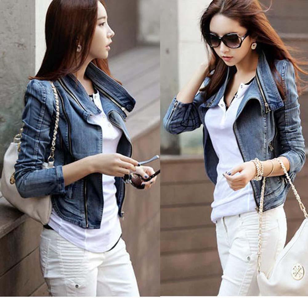 2018 New Spring Women Denim Jacket Plus Size S-XL Vintage Cropped Short Denim Coat Long-Sleeve Jeans Coat Cardigan Light Blue