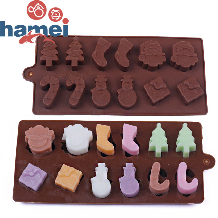 1pcs silicone christmas theme ice cube ice box chocolate molds jelly molds candy cake mould bakeware d577