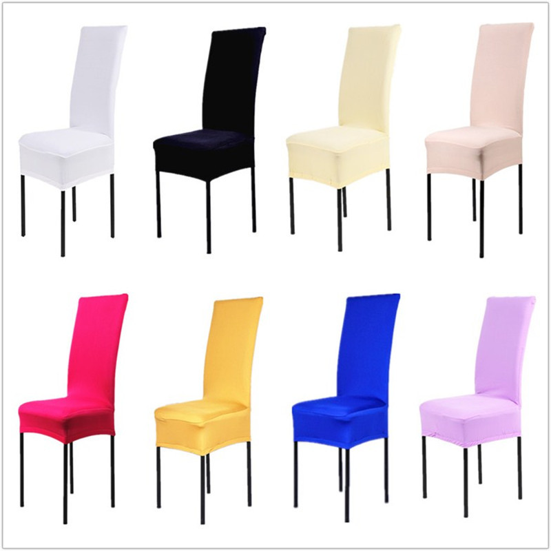 1 Piece 13 Solid Colors Polyester Spandex Dining Chair Covers For Wedding Party Cover Brown