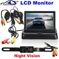 4.3 Inch Foldable LCD Car Monitor Mirror+Wireless IR Night Vision Rearview Reverse Camera kit Parking Backup Monitor System