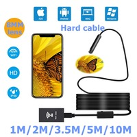 LESHP 8mm 1200P HD WIFI Endoscope Camera Hard Cable 1/2/3.5/5/10M IP68 Waterproof With Adjustable Light Button 8pcs LED Light