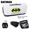 Película de Superman Batman Capitán América bolsa monedero de gran capacidad de doble cremallera lápiz bolsa de papelería cartera