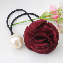 C Hair Accessories Wholesale Hair Ring Ponytail Women Girl Fashion Rose Floral Pearl Elastic Hair Tie Bands Headwear Ornaments