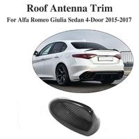 Carbon Fiber Car Roof Shark Fin Decoration Antenna Exterior Trim Car Sticker Fin Aerial for Alfa Romeo Giulia 4 Door 2015 2017