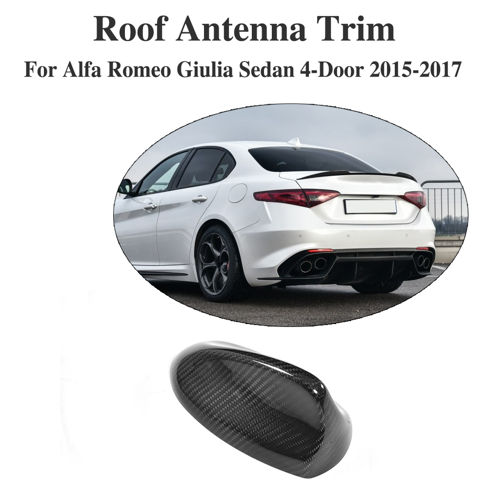 Fibre de carbone voiture toit requin aileron décoration antenne extérieur garniture voiture autocollant aileron aérien pour Alfa Romeo Giulia 4 portes 2015-2017