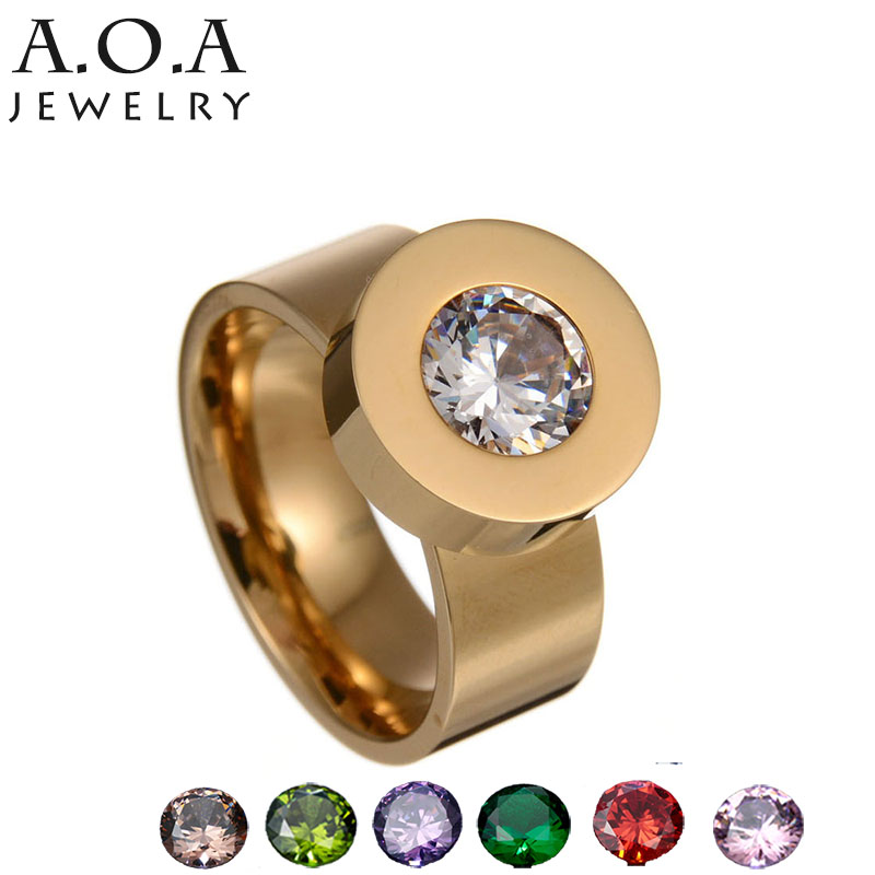 Fashion Stainless Steel Crystal Ring Female Ring Interchangeable 7 Colors CZ Stone Ring Drop Shipping