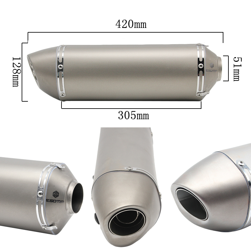 Alconstar- 51mm Motorcycle Akrapovic Yoshimura Exhaust Pipe Muffler Scooter GY6 Exhaust TMAX500 530 NINJA ATV Motocross Racing