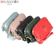 High Quality Natural Leather Brand Day Clutches for Women Genuine Leather Bee Long Wallet Wristlet Clutch Slim Zipper Coin Purse