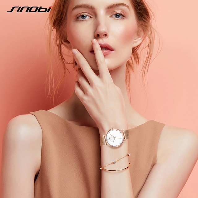 SINOBI New Quartz Watch Women Watches Top Brand Luxury Reloj Mujer Fashion Steel Strap Ladies Wrist Watch Relogio Feminino