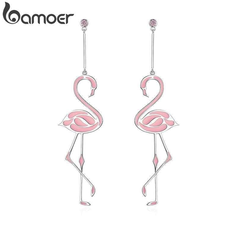 ee9a16f7b BAMOER New Collection Silver Color Romantic Flamingo Pink Enamel Drop  Earrings for Women Fashion Earrings Jewelry