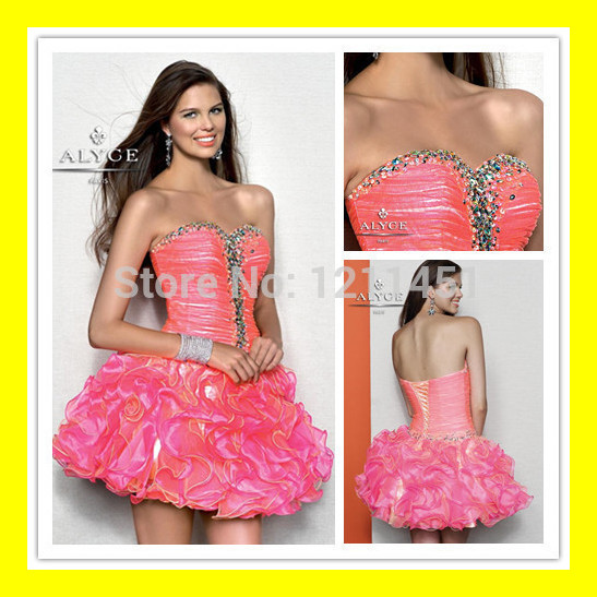 Prom Dresses For Sale Homecoming Tall Girls Latest Short Pink Neon ...