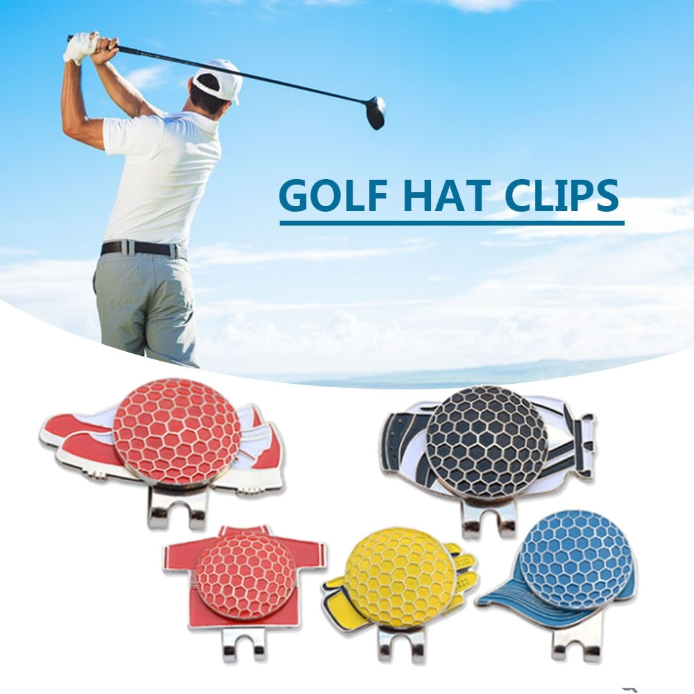 5PCS Professional Golf Cap Clip Different Golf Ball Makers Magnetic Hat Clips Metal Golf Ball Aiming Maker Golf Sports Accessory