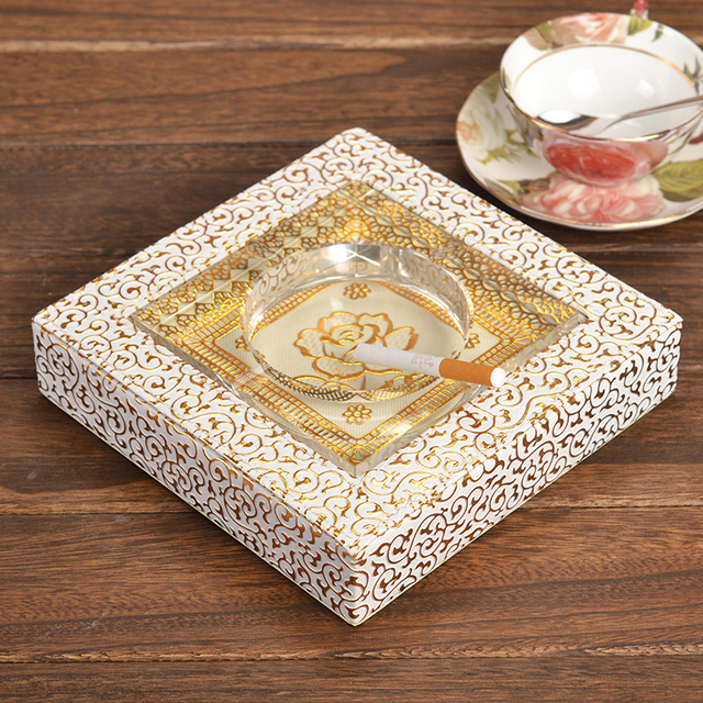 High Quality Home Office Decoration Leather Crystal Tabletop Cigarette Ashtray  Outdoor Ash Tray Smoker case smoking - High Quality Home Office Decoration Leather Crystal Tabletop