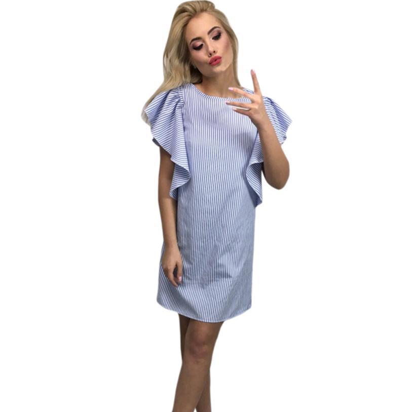 snowshine YLI Women Summer Short Sleeve Off Shoulder Dress Striped Ruffles Casual Dress free shipping