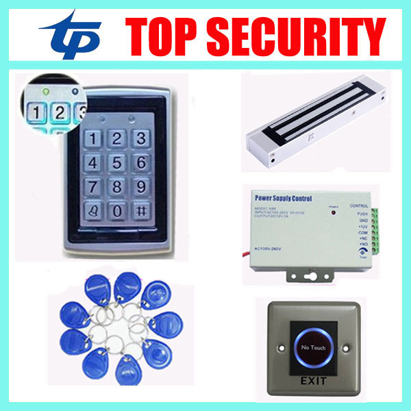Access control system EM ID Card standalone single door access control system+power supply+magnetic lock+exit button+RFID key access control systems proximity card waterproof standalone access control power supply magnetic lock exit button 10pcs rfid key