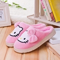 Hello Kitty Winter Indoor Slipper Women Rubber Sole Sewing House Shoes Cat Slipper Pantufa Foot Warmer Two Colors Can Be Choose