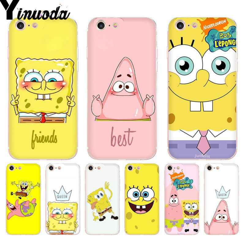 Yinuoda For iphone 7 6 X Case SpongeBob SquarePants Sponge Bob Best Friend Phone Case For iPhone 8 7 6 6S Plus 5S SE XR XS XSMAX