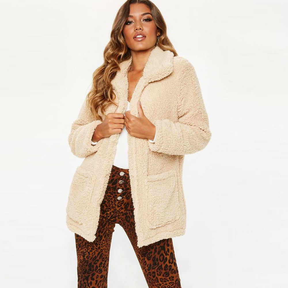 ae4f9f9aa5d21 Women Teddy Coat Women s Lapel Long Sleeve Faux Shearling Coat Autumn Winter  Warm Coat