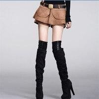Women Buckskin Velvet Ruffles Short Skirts Female Streetwear Solid Slim Shorts 2018 Summer New S M L XL XXL High Quality