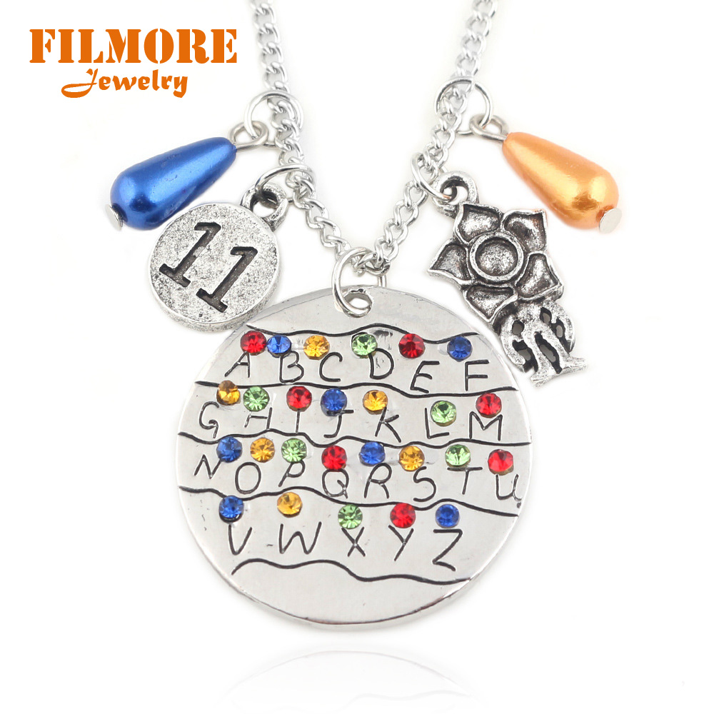 Stranger Things Necklace Handstamped Alphabet Light Wall Pendant with Monster Charms Eleven Letters Beads Necklace Movie Jewelry