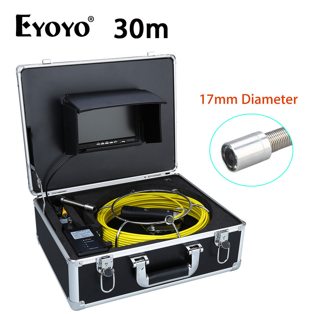 Eyoyo 7 LCD 30M 17mm Sewer Waterproof Camera Wall Drain Pipe Line Inspection System CCTV Cam 1000TVL Snake Inspection Color HD 40m keyboard recorder waterproof pipe sewer snake inspection camera kit 7 lcd color mon dvr
