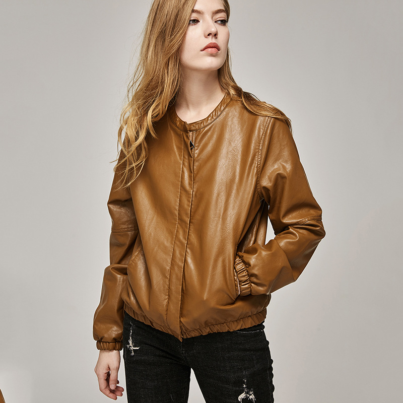 Ailegogo New Women Autumn Faux   Leather   Short Jackets Fashion Casual Baseball Female Washed Pu Coats Ladies Basic Jackets Outwear