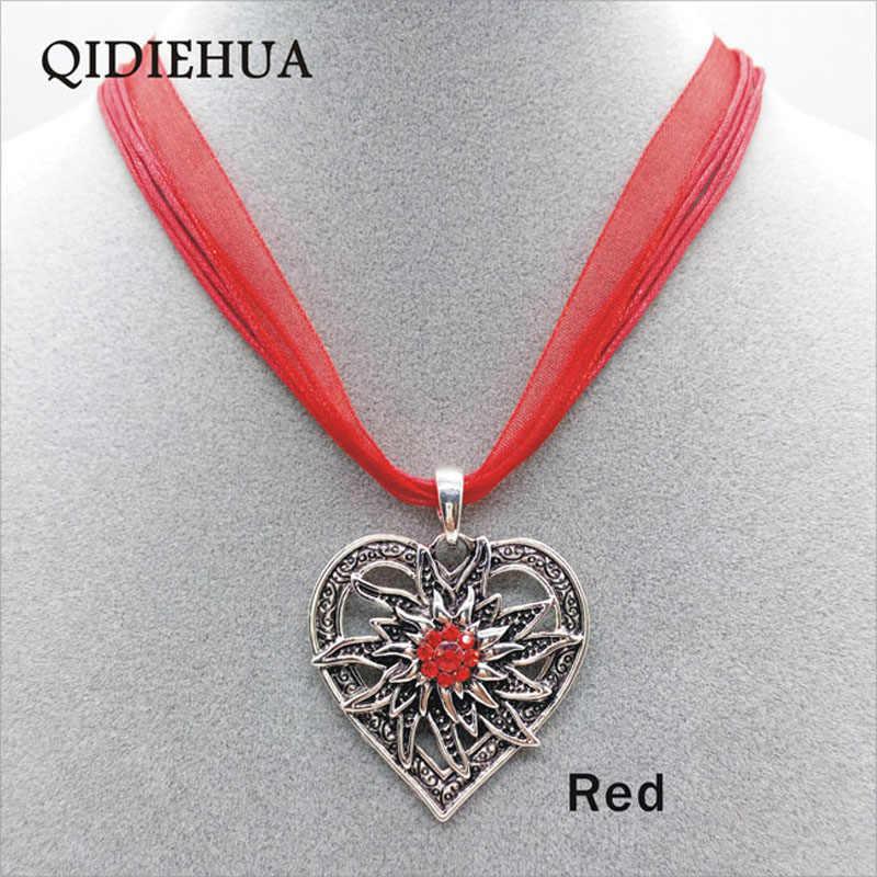 Новая Винтажная подвеска «любящее сердце» ожерелье s для женщин Edelweiss эффектное ожерелье 2019 Boho многослойная веревочная цепь колье ювелирные изделия