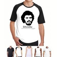 cef8d850c Socrates Brazilian Midfielder Football Legend 70s Brazil Soccer Retro T- Shirt(China)