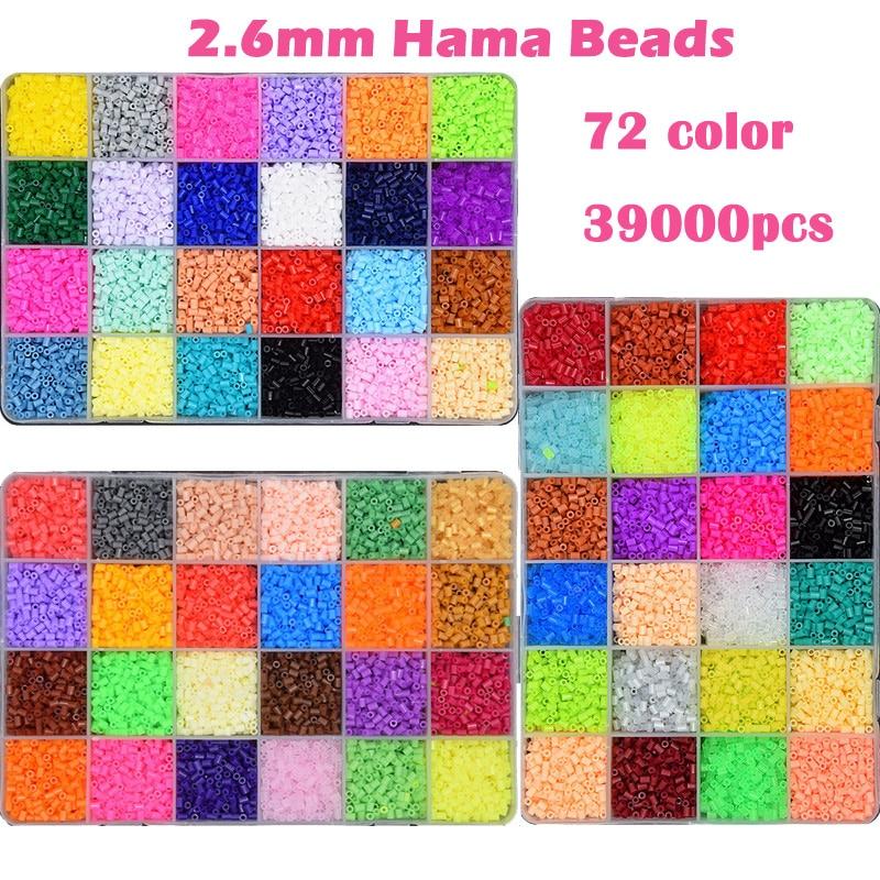 72 couleur Perler Perles 39000 pcs coffret de 2.6mm Hama Perles pour Enfants puzzle Éducatif BRICOLAGE Jouets fusible Perles Pegboard