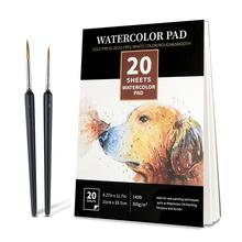 лучшая цена Professional Watercolor Paper 300gsm 20Sheets Hand-Painting Sketch Watercolor Book for Artist Drawing Books Art Supplies