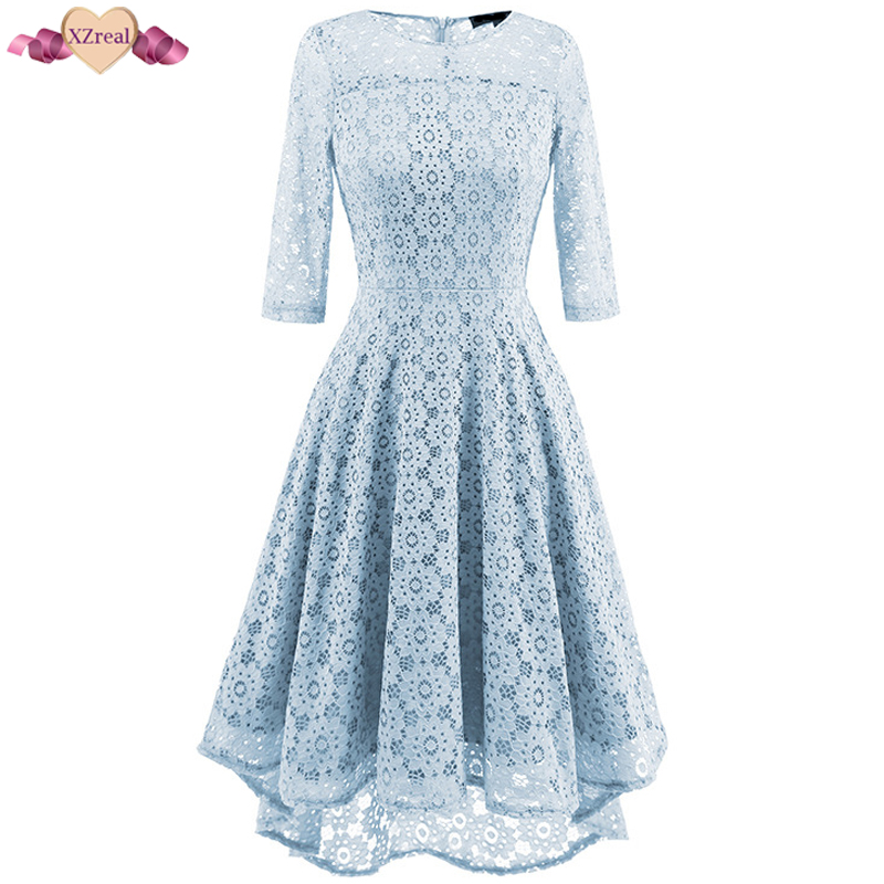 XZreal Elegant Evening Party Dress Lace Women Autumn Tunic Dresses Female Clothes Retro Rockabilly Swing Vintage