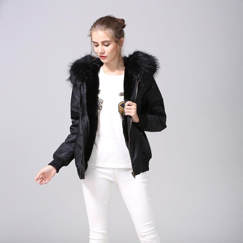Черный Курточка Бомбер с Искусственный мех на черный енот пальто с капюшоном на меху Mrs полета короткая куртка