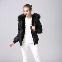 Black Bomber Jacket With Faux Fur Lined,Black Raccoon Fur Hoodies Mrs Flight Short Jacket