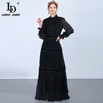 LD LINDA DELLA Fashion Runway Maxi Dresses Women's Long Sleeve Lace Patchwork Ruffles Vintage Black Dress Elegant Party Dress bell sleeve contrast lace tie waist maxi dress