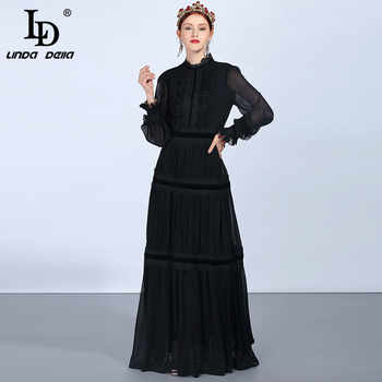 LD LINDA DELLA Fashion Runway Maxi Dresses Women's Long Sleeve Lace Patchwork Ruffles Vintage Black Dress Elegant Party Dress - DISCOUNT ITEM  20% OFF All Category
