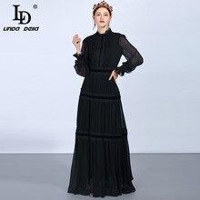 LD LINDA DELLA Fashion maxivestidos de pasarela para mujer, vestidos de manga larga de encaje de retazos con volantes Vintage negro, vestido elegante de fiesta