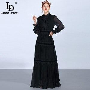 Image 1 - LD LINDA DELLA แฟชั่น Maxi ชุดผู้หญิงแขนยาวลูกไม้ Patchwork Ruffles VINTAGE Black Elegant PARTY DRESS