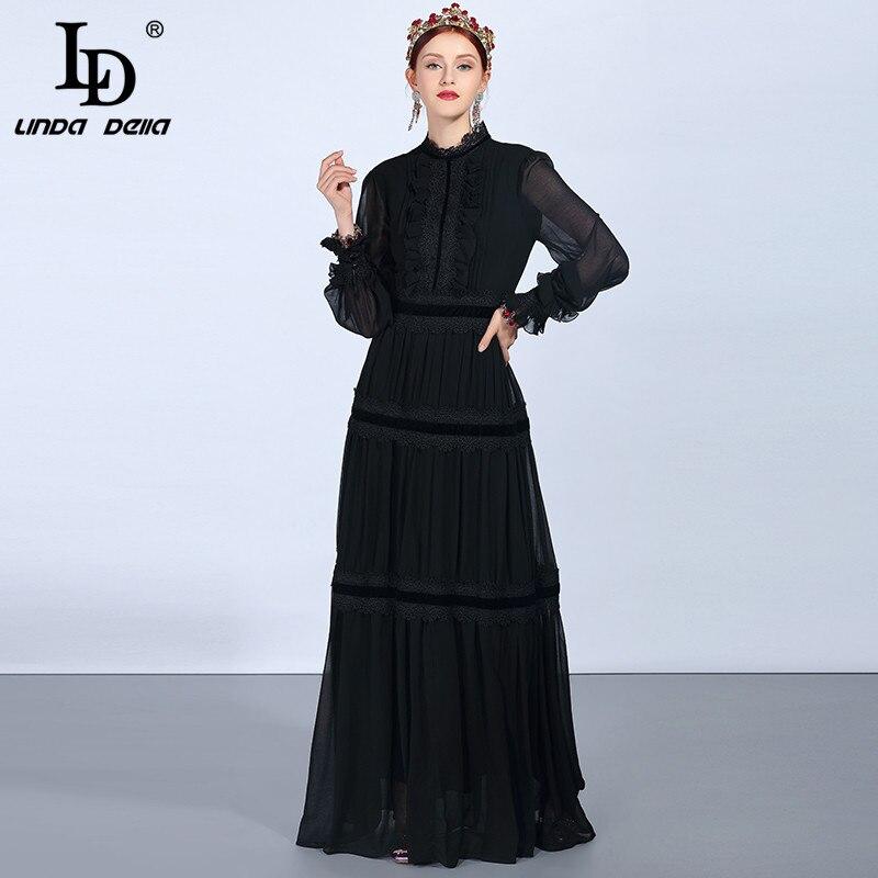 LD LINDA DELLA Mode Piste Maxi Robes de Femmes À Manches Longues En Dentelle Patchwork Volants Vintage Noir Robe Élégante Parti Robe