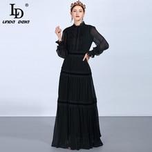 LD לינדה דלה אופנה מסלול מקסי שמלות נשים של ארוך שרוול תחרה טלאים ראפלס בציר שחור שמלה אלגנטית מפלגה שמלה