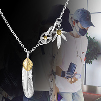 Takahashi goros jewelry 925 Sterling Silver Pendant Necklaces Feather Charm Vintage Thai Silver Eagle Chain For Men And Women