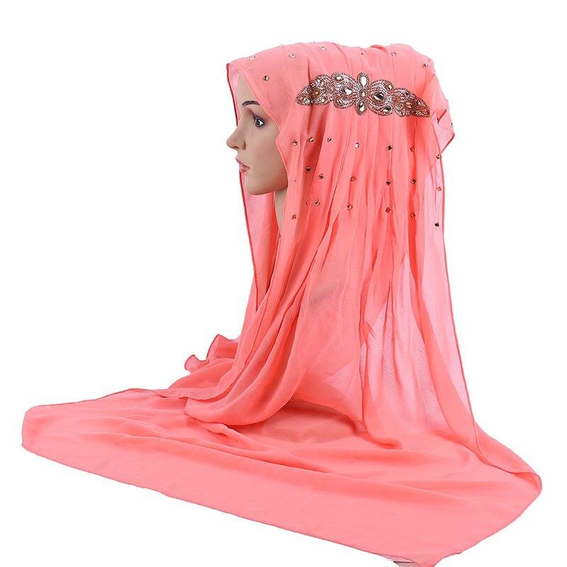 Can Pick Colors 70 170CM Muslim Chiffon Long Headscarfs Islamic Scarf with Diamond Bead