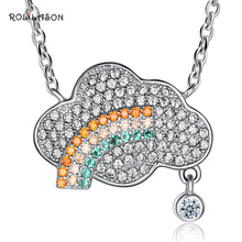 925 sterling silver cloud color crystal necklace pendant fashion female models SP60 недорого