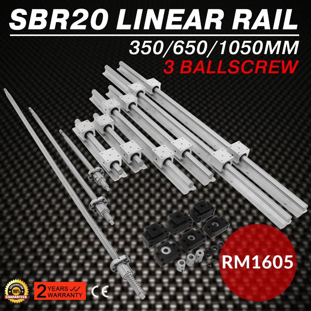SBR20 Linear Guide Rail+3 Ballscrew RM1605-350/650/1050mm+BK/BF 12 CNC Kit