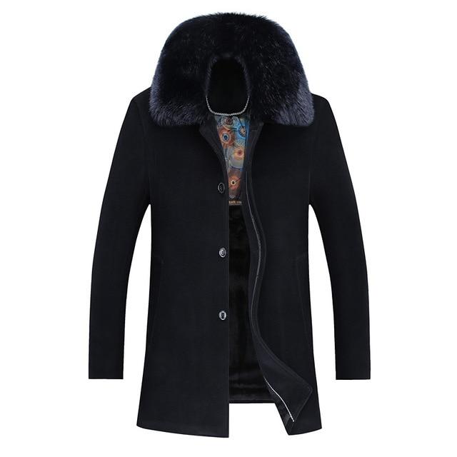 2016 Winter New Turn Down Collar Detachable Fur Collar Overcoat Men