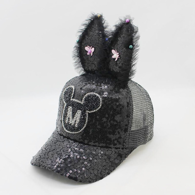 2018 Children Hip Hop Baseball Cap Summer Baby rabbit ear pearl bow kids Sun Hat Boys Girls snapback Caps for 2-8 years old