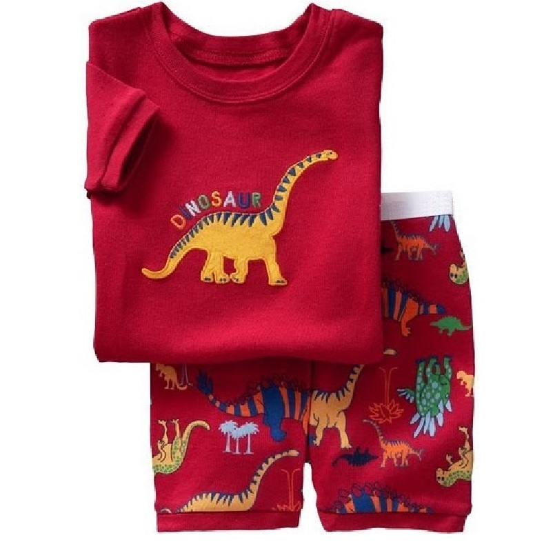 Hooyi Red Dino Children Clothes Sets Dinosaur Boys Pajamas 2-Pieces Suit Baby Boy pijama Kids Tee Shirt Shorts Pant 100% Cotton