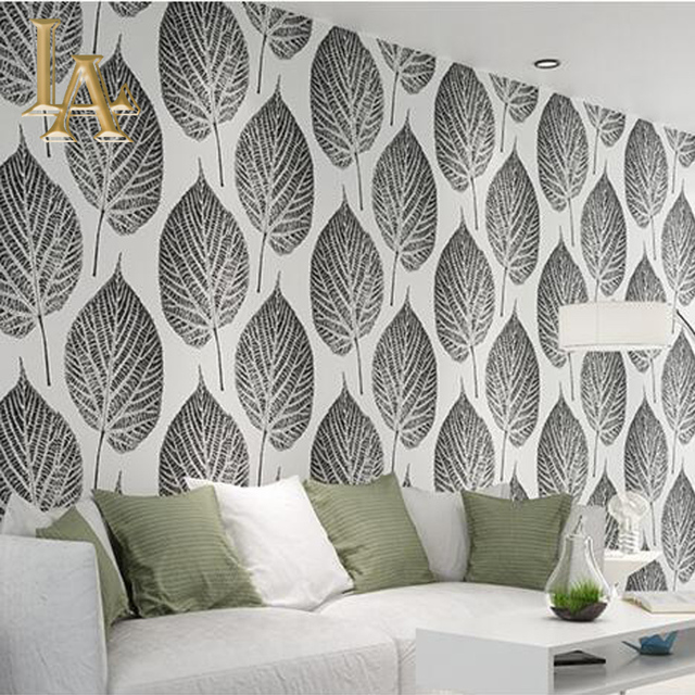 Aliexpresscom Buy Modern Simple Gold Black White Leaf Wallpaper - Wallpaper for walls black and white