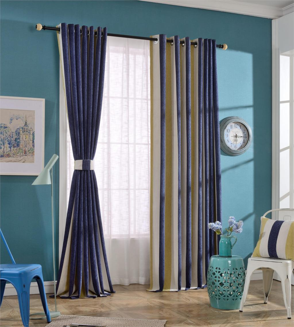 Urijk Blue Striped Blockout Curtains Brown Tulle Curtain For