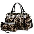 NUEVO leopardo de Lujo monederos y los bolsos de marcas famosas bolso de hombro diseñador de alta calidad de cuero de patente de la pu de mano bolsas sac un principal